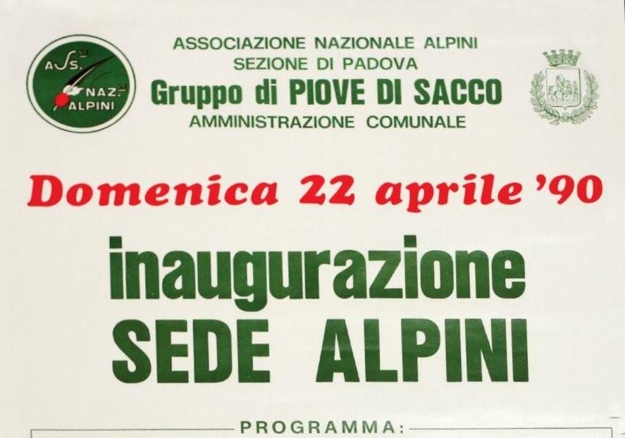 Alpini Piove di Sacco Programma Inaugurazione